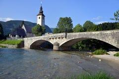 Chiesa di St John il battista, lago Bohinj, Slovenia Fotografie Stock