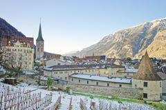 Chiesa di St Martin e della vigna di Chur ad alba Fotografie Stock Libere da Diritti