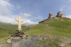 Chiesa di trinità di Gergeti, Georgia Fotografia Stock