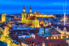 Chiesa di Tyn e quadrato di Città Vecchia, Praga, repubblica Ceca, Praga, repubblica Ceca Fotografia Stock Libera da Diritti
