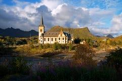 Chiesa di Vågan Fotografia Stock Libera da Diritti