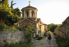 Chiesa di vista del san Petka sul tramonto nella fortezza di Kalemegdan a Belgrado, Serbia fotografia stock