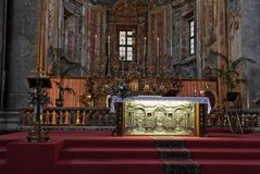 Chiesa dorata Palermo del San Giuseppe dell'altare Fotografia Stock Libera da Diritti