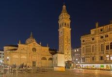 Chiesa e quadrato di Santa Maria Formosa dei Di di Chiesa - di Venezia alla notte immagine stock libera da diritti