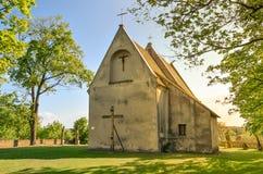 Chiesa gotica di tutti i san in Szydlow, Polonia fotografia stock