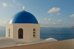 Chiesa greca all'isola di Santorini Fotografia Stock