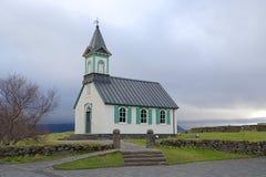 Chiesa islandese nel parco nazionale di Thingvellir in Islanda Immagine Stock