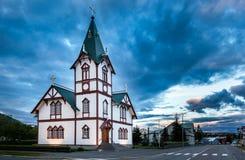 Chiesa islandese nella piccola città di Husavik Fotografia Stock Libera da Diritti