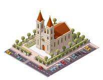 Chiesa isometrica di vettore Immagine Stock Libera da Diritti