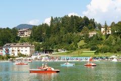 Lavarone Lake in Chiesa, Trentino Alto Adige, Italy. Chiesa, Italy - August 20, 2011: Lavarone Lake is located at Chiesa a locality of the small town of Lavarone stock photos