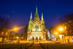 Chiesa Joseph sulla notte - una chiesa cattolica romana storica nella parte centromeridionale di Cracovia Fotografia Stock