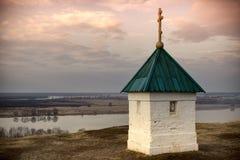 Chiesa in Konstantinovo della Russia La cappella al luogo di nascita del poeta Sergei Yesenin immagine stock libera da diritti