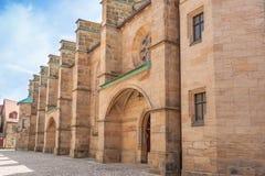 Chiesa luterana antica nell'architettura della Baviera della Germania immagine stock