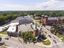 Chiesa luterana e parrocchia sacra del cuore in Newton, mA, U.S.A. fotografia stock