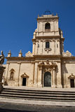 Chiesa madre. Baroque facade of chiesa madre in avola Stock Photo