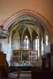 Chiesa medievale fortificata del sassone nel villaggio Malancrav, la Transilvania Fotografia Stock Libera da Diritti