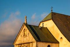 Chiesa medievale nel centro di Megeve, alpi francesi Fotografia Stock