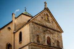 Chiesa medievale nel centro di Megeve, alpi francesi Immagini Stock Libere da Diritti