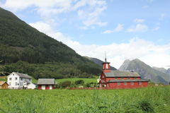 Chiesa nel booktown norvegese Fjærland Fotografia Stock