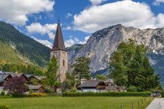 Chiesa nel villaggio di Altaussee, Austria Fotografia Stock