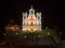 Chiesa nella vista di notte di GOA Fotografie Stock