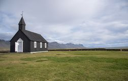 Chiesa nera di Buðir, bordo del sud dello Snæfellsness 10 peninsulari Fotografia Stock