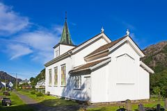Chiesa norvegese di legno bianca Immagini Stock