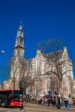Chiesa occidentale protestante olandese situata al vecchio distretto centrale a Amsterdam fotografia stock libera da diritti