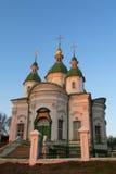 Chiesa ortodossa con le cupole verdi Immagini Stock