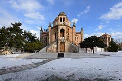 Chiesa ortodossa nell'orario invernale immagini stock libere da diritti