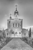 Chiesa ortodossa tradizionale a Frunze, piccolo villaggio in Crimea immagini stock libere da diritti