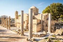 Chiesa in Pafo, Cipro di chrysopolitissa di kyriaki di Ayia immagini stock libere da diritti