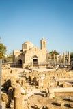 Chiesa in Pafo, Cipro di chrysopolitissa di kyriaki di Ayia immagine stock libera da diritti