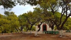 Chiesa in pini, Lavrion, Grecia immagini stock