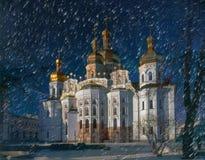 Chiesa principale della cattedrale di Kiev-Pechersk Lavra Fotografie Stock Libere da Diritti