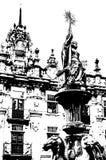 Chiesa in Santiago de Compostela, illustrazione in bianco e nero fotografia stock
