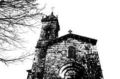 Chiesa in Santiago de Compostela, illustrazione in bianco e nero immagini stock libere da diritti