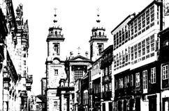 Chiesa in Santiago de Compostela, illustrazione in bianco e nero immagine stock libera da diritti