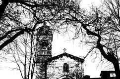 Chiesa in Santiago de Compostela, illustrazione in bianco e nero immagini stock
