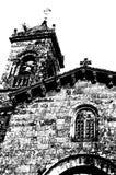 Chiesa in Santiago de Compostela, illustrazione in bianco e nero fotografie stock