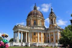 Chiesa sopra la collina, Torino, Italia di Basilica di Superga Fotografie Stock Libere da Diritti