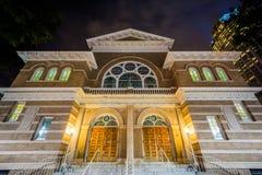 Chiesa storica alla notte a Charlotte dei quartieri alti, Nord Carolina Fotografie Stock