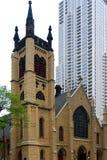 Chiesa storica in Chicago del centro Immagini Stock Libere da Diritti