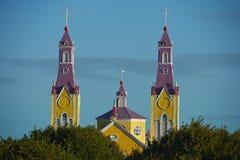 Chiesa storica di Chiloé Fotografia Stock Libera da Diritti