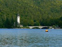 Chiesa sul lago Bohinj Fotografie Stock