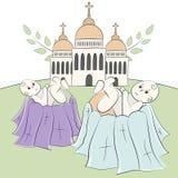 Chiesa, tempio, cappella con le cupole ed incroci Rami di un albero con le foglie Battesimo del bambino, battesimo Illustrat di v illustrazione vettoriale