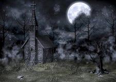 Chiesa terrificante abbandonata Immagine Stock