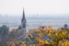 Chiesa in un villaggio e un albero in priorità alta Immagine Stock Libera da Diritti