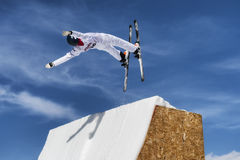 CHIESA VALMALENCO: Freestyle Ski FIS European Cup, athlete jump Stock Photography