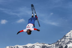 CHIESA VALMALENCO: Freestyle Ski FIS European Cup, athlete jump Stock Images